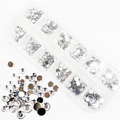 1200pcs ab culoare acril diamant de unghii decoratiuni de artă de 1,5 / 2/3/4/5/6 mm