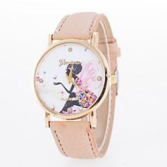 preiswerte Damenuhren-Damen Armbanduhren für den Alltag Modeuhr Quartz Armbanduhren für den Alltag PU Band Analog Blume Schmetterling Schwarz / Weiß / Blau - Rosa Hellbraun Leicht Grün