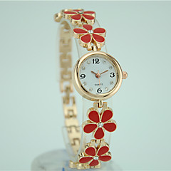 cheap Floral Watches-Women's Bracelet Watch Quartz Casual Watch Alloy Band Analog Flower Fashion Elegant Black / White / Red - Black Red Pink One Year Battery Life / Tianqiu 377