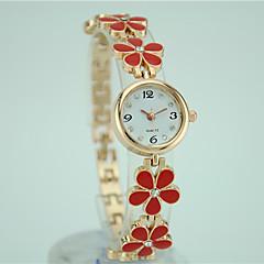 billige Blomsterure-Dame Quartz Armbåndsur Afslappet Ur Legering Bånd Blomst Elegant Mode Sort Hvid Rød Pink