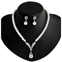 cheap Pearl Jewelry Sets-Women's Imitation Pearl / Rhinestone / Silver Plated Jewelry Set Earrings / Necklace - White Necklace / Earrings For Wedding / Party /