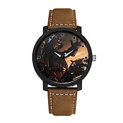 preiswerte Herrenuhren-Herrn Modeuhr Quartz Armbanduhren für den Alltag Leder Band Analog Charme Schwarz / Braun - Schwarz Braun