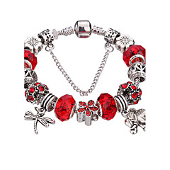 Women's Charm Bracelet Bangles Strand Bracelet Silver Bracelets Adorable Beaded Durable Fashion Acrylic Rhinestone Silver Plated Alloy
