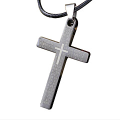 férfi nyaklánc, kreatív kereszt rozsdamentes acél, titán acél medál - egyszeres keresztezés