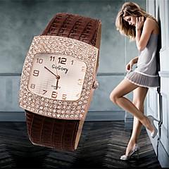preiswerte Tolle Angebote auf Uhren-Damen Simulierter Diamant Uhr Modeuhr Quartz Imitation Diamant Armbanduhren für den Alltag Leder Band Charme Schwarz Weiß Silber Rot