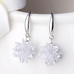 preiswerte Ohrringe-Damen Kristall Ohrring - Sterling Silber Silber Blume damas Punk Modisch Schmuck Weiß Für Hochzeit Party Alltag Normal Sport