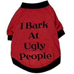 お買い得  犬用ウェア&アクセサリー-犬 Tシャツ 犬用ウェア 文字&番号 レッド コットン コスチューム ペット用 男性用 女性用 ファッション