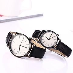 Couple's European Style Leather Fashion Lovers Quartz Wrist Watches