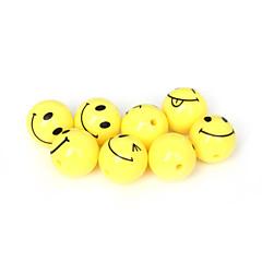 beadia의 20PCS 아크릴 구슬 18mm 라운드 노란색 웃는 얼굴 플라스틱 스페이서 비드 (2mm 구멍)