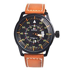 baratos Relógios em Oferta-Masculino Relógio de Moda Quartzo Relógio Casual Couro Banda Preta Marrom Preto Marron