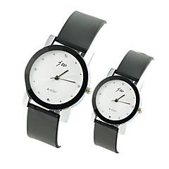 preiswerte Armbanduhren für Paare-Paar Armbanduhr Quartz Armbanduhren für den Alltag PU Band Analog Charme Modisch Schwarz - Weiß Schwarz