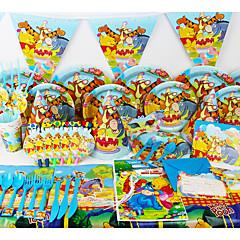 お買い得  ホームデコレーション-高級くまのプーさん78個の誕生日パーティーの装飾の子供イベント・パーティー用品パーティーの装飾6人が使います