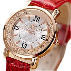Kadın's Moda Saat Yüzer Kristal Saatler Quartz / imitasyon Pırlanta PU Bant Vintage Siyah Beyaz Kırmızı Pembe