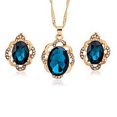 abordables Juegos de Joyería-Mujer Cristal Geométrico Conjunto de joyas - Cristal, Zirconio Asiático, Moda Incluir Negro / Azul Oscuro Para Cita / Oficina y carrera / Pendientes