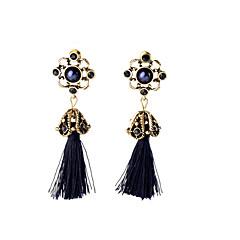 preiswerte Ohrringe-Damen Kristall Quaste Ohrring - Blume Quaste, Retro, Böhmische Schwarz Für Party / Perle / Strass