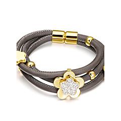 preiswerte Armbänder-Damen Lederarmbänder - Edelstahl, Leder, Strass Blume Modisch Armbänder Silber / Golden Für Hochzeit Party Alltag