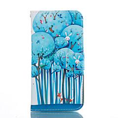 billige Galaxy S6 Etuier-Etui Til Samsung Galaxy Samsung Galaxy etui Kortholder Med stativ Flip Mønster Fuldt etui Træ Blødt PU Læder for S7 edge S7 S6 edge plus