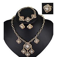 Juego de Joyas Moda Cosecha Cristal Legierung Oro Rosa Collares Pendientes Argollas Pulsera Para Boda 4 piezas Regalos de boda