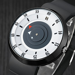 お買い得  メンズ腕時計-男性用 クォーツ リストウォッチ ラバー バンド カジュアル / ファッション ブラック / ブラウン