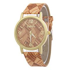 Dames Modieus horloge Horloge Hout Kwarts / Leer Band Vrijetijdsschoenen Meerkleurig Grijs Geel Koffie Bruin Khaki