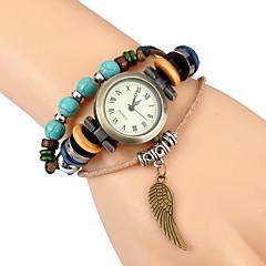 tanie Zegarki damskie-Damskie Modny Zegarek na nadgarstek Zegarek na bransoletce Kwarcowy Punk skrzydło Skóra Pasmo Postarzane Artystyczny Z Wisorkami Na co