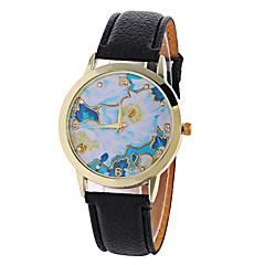 voordelige Bloemenhorloges-Dames Modieus horloge Kwarts Digitaal Maanfase PU Band Amulet Bloem Vintage Snoep Informeel Cool Zwart Wit