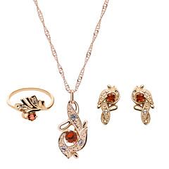 olcso Ékszer szett-Női Ékszer szett - Strassz, Rózsa arany bevonattal Divat tartalmaz Piros / Rózsaszín Kompatibilitás Esküvő / Parti / Gyűrűk / Naušnice / Nyakláncok
