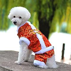 voordelige Hondenkleding & -accessoires-Hond Jassen Jumpsuits Hondenkleding Vakantie Modieus Nieuwjaar Geborduurd Geel Rood Blauw Kostuum Voor huisdieren