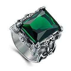 tanie Biżuteria męska-Męskie Duże pierścionki Modny Postarzane luksusowa biżuteria Syntetyczne kamienie szlachetne Stal tytanowa Biżuteria Na Codzienny Casual