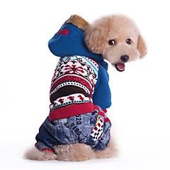 お買い得  犬用ウェア&アクセサリー-ネコ 犬 コート パーカー 犬用ウェア カラーブロック ブルー ピンク コットン コスチューム ペット用 男性用 女性用 カウボーイ 防風 ファッション