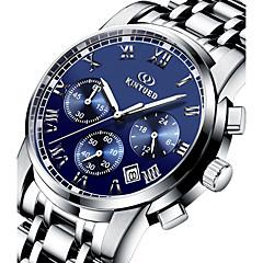 お買い得  大特価腕時計-KINYUED 男性用 リストウォッチ 30 m 耐水 カレンダー クロノグラフ付き ステンレス バンド ハンズ ぜいたく カジュアル ファッション シルバー - ブラック シルバー ブルー / 夜光計