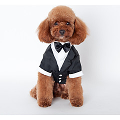 お買い得  犬用ウェア&アクセサリー-犬 セット 犬用ウェア ブリティッシュ ブラック コットン コスチューム ペット用 男性用 結婚式