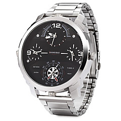 お買い得  メンズ腕時計-男性用 リストウォッチ 軍用腕時計 ファッションウォッチ クォーツ 3タイムゾーン 2タイムゾーン ステンレス バンド クール ブラック シルバー