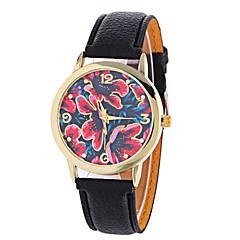 billige Blomster-ure-Dame Kjoleur Modeur Armbåndsur / Quartz PU Bånd Blomst Sort Hvid Rød Brun Grøn