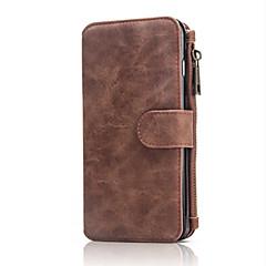 Для Кошелек / Бумажник для карт Кейс для Чехол Кейс для Один цвет Твердый Натуральная кожа Apple iPhone 7 Plus / iPhone 7