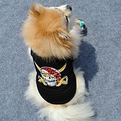 お買い得  犬用ウェア&アクセサリー-ネコ 犬 Tシャツ 犬用ウェア スカル ブラック コットン コスチューム ペット用 夏 男性用 女性用 ファッション