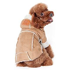 Σκύλος Παλτά Φούτερ με Κουκούλα Ρούχα για σκύλους Διατηρείτε Ζεστό Μοντέρνα Μονόχρωμο Καφέ Κρασί Σκούρο καφέ Στολές Για κατοικίδια