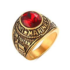billige Herresmykker-Herre Rhinsten Rustfrit Stål Rhinsten Guldbelagt Simuleret diamant Statement Ring - Personaliseret Mode Punk Gylden Ring Til Julegaver