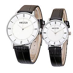 お買い得  メンズ腕時計-KEZZI カップル用 クォーツ リストウォッチ / ホット販売 レザー バンド カジュアル ミニマリスト クール ブラック 白 ブラウン
