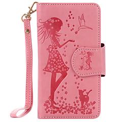 lg k10 k8 puレザー素材女性と猫模様エンボス9カセットk7 nexus 5x用ミラー電話ケース
