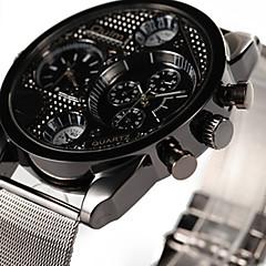 Oulm Men's Fashion Dual Time Zones Quartz Casual Watch Big Round Alloy Dial Watch Cool Watch Unique Watch