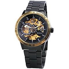 お買い得  メンズ腕時計-WINNER 男性用 リストウォッチ 機械式時計 自動巻き 30 m 耐水 透かし加工 光る ステンレス バンド ハンズ ぜいたく ヴィンテージ ブラック / シルバー - ブラック ゴールドとブラック シルバーとブラック / 速度計