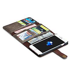 Til iPhone X iPhone 8 iPhone 7 iPhone 7 Plus iPhone 6 Etuier Pung Kortholder Origami Magnetisk Heldækkende Etui Helfarve Hårdt Ægte læder