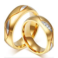 preiswerte Ringe-Paar Eheringe - 18K vergoldet, Edelstahl, Strass Personalisiert, Luxus, Modisch Eine Größe Schwarz / Golden Für Hochzeit / Party / Alltag / Normal