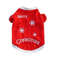 Koty Psy T-shirt Ubrania dla psów Zima Lato Płatek śniegu Codzienne Święta Bożego Narodzenia Czerwony