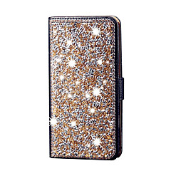 billige Galaxy S6 Etuier-Etui Til Samsung Galaxy S7 edge S7 Pung Kortholder Rhinsten Med stativ Flip Heldækkende Glitterskin Hårdt Kunstlæder for S7 edge S7 S6