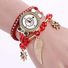 preiswerte Damenuhren-Damen Modeuhr Armband-Uhr Armbanduhr Quartz Cool Mehrfarbig PU Band Analog Charme Blume Glanz Schwarz / Weiß / Blau - Rot Blau Rosa