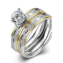 Dames Ring Verlovingsring Modieus Europees Kostuum juwelen Roestvast staal Zirkonia Verguld Sieraden Voor Bruiloft Feest Dagelijks