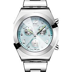 preiswerte Damenuhren-Damen Armbanduhr Wasserdicht / Cool / Drei-Zeit-Zonen Edelstahl Band Luxus / Retro / Freizeit Silber