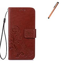 For Pung / Kortholder / Med stativ / Flip Etui Heldækkende Etui Blomst Hårdt Kunstlæder for Samsung Note 5 / Note 4 / Note 3